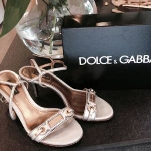 Dolce & Gabbana Woman Silver Leather Sandals Shoes